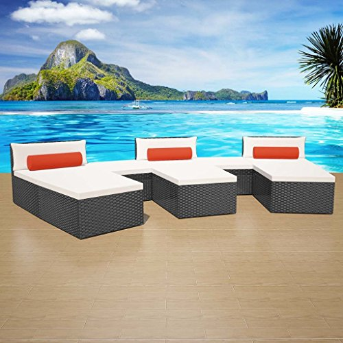 Daonanba Garden Furniture Set Modular Garden Sofa Set Comfortable Sun Lounger Set Poly Rattan 22 Pcs Black (Modular Rattan Furniture)