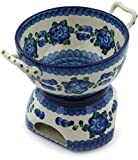 Polish Pottery 30 oz Fondue Set made by Ceramika Artystyczna (Blue Poppies Theme) + Certificate of Authenticity