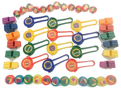 Brick Building Blocks Party Favor Novelty Toys Set - Block Disc Shooters, Yoyos, Bounce Balls, Whistles, Bags. 60 Piece Bundle for Children Lego Birthdays, Goody Bags, School Prize Boxes, Halloween (Ideas For Halloween School Treats)