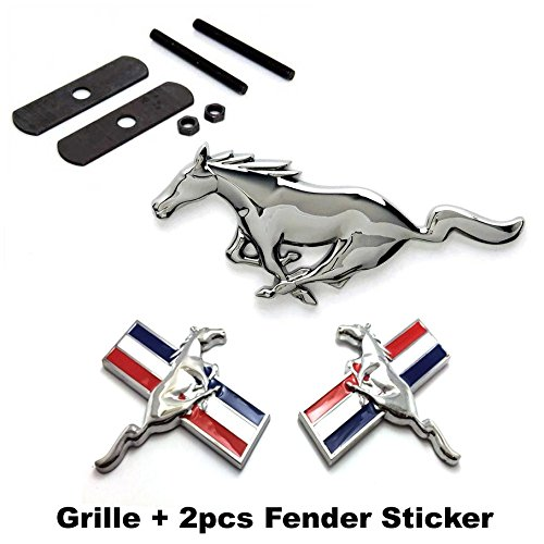 BENZEE 3pcs Sets AM103 Mustang Running Horse Front Grille + Fender Side Sticker Car Emblem Badge For Ford Mustang -