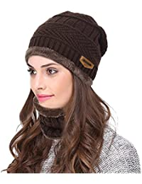 Beanie Hat Skull Cap Warm Knit Hat Scarf Set For Men and Women Christmas Gift Set