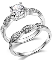 FUNRUN 925 Sterling Silver Womens Mens Cubic Zirconia Wedding Engagement Band Ring Size 4-11