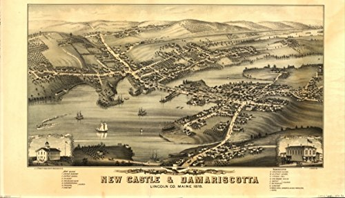 1878 map of New Castle & Damariscotta, Maine Birds eye view of the villages of N