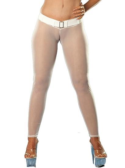efdcb66cb79653 Wicked Temptations Sheer Glissenette Belted Leggings Medium White at Amazon  Women's Clothing store:
