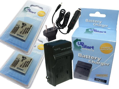 2x Pack - Pentax D-BC8 Battery + Charger with Car & EU Adapters - Replacement for Pentax D-LI8 Digital Camera Battery and Charger (750mAh, 3.7V, (D Li8 Lithium Ion Battery)