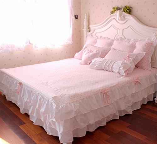 Pink Polka Dot Bedding Sets,Rustic Girls Duvet Cover Set ,Queen Size,4Pcs