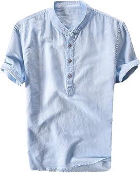 ღLILICATღ Camisetas Hombre,Verano de Lino Liso Algodón Talla ...