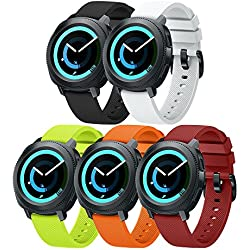 ANCOOL Compatible Gear Sport Band Replacement 20mm Silicone Watch Band Compatible Samsung Gear Sport/Gear S2 Classic R732/Galaxy Watch (42mm)/Ticwatch E/Ticwatch 2 - Small 5PCS Pack