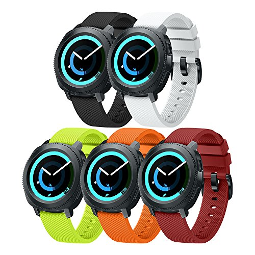 ANCOOL Compatible Gear Sport Band Replacement 20mm Silicone Watch Band Compatible Samsung Gear Sport/Galaxy Watch (42mm)/Ticwatch E/Ticwatch 2/Vivoactive 3 Watch - Large 5PCS Pack