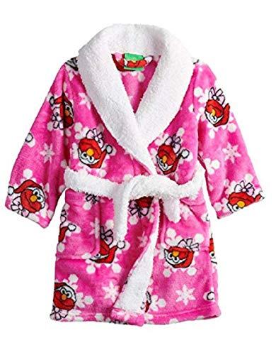 Toddler Boys Girls Elmo Holiday Snowflake Robe Santa Bathrobe Pajamas (2t, Pink)
