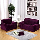 RUGAI-UE Sofa Slipcover thickening flannel sofa set all wrapped fabric fashionable non slip non slip short plush sofa sets,Double seat length 145-185cm,Thickening velvet - Purple