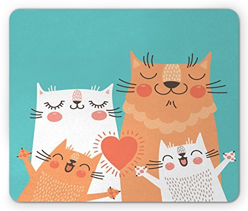 Funny Mouse Pad Cute Kitten Couple Sweet Happy Paws Loving Heart With Family Cats Poster Style Animal Rectangle Non Slip Rubber Mousepad  Multicolor