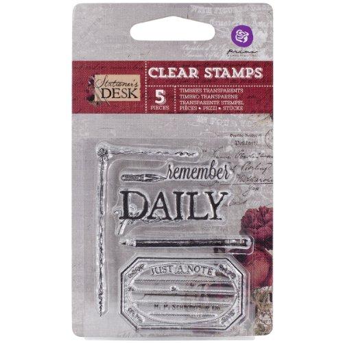 Prima Marketing Stationer's Desk Clear Stamps, 2.5 by 3-Inch, No.1 (Prima Marketing Stationers Desk)