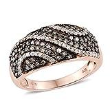 925 Sterling Silver Vermeil 1 cttw Round Champagne Diamond, Diamond Wedding Ring for Women