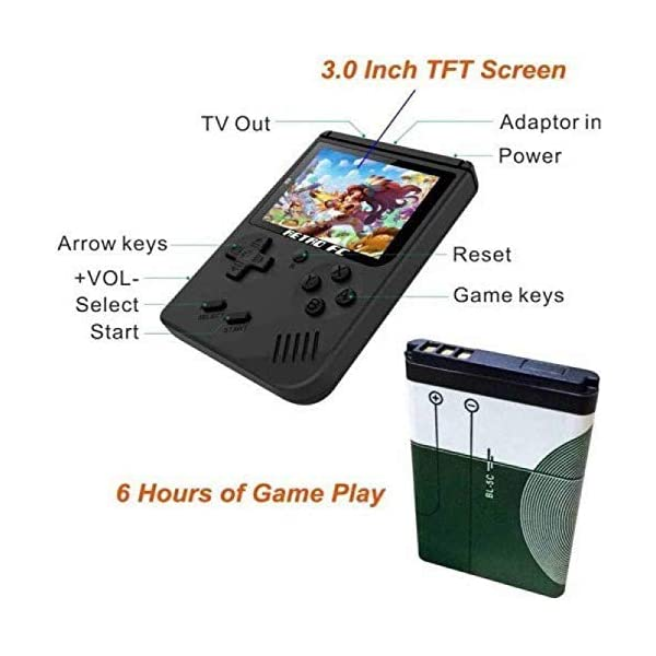 LUCRIA Sup Video Game With Battery Handheld Console Classic Retro Video Gaming Player Colourful LCD Screen USB Rechargeable with 400 in 1 Classic