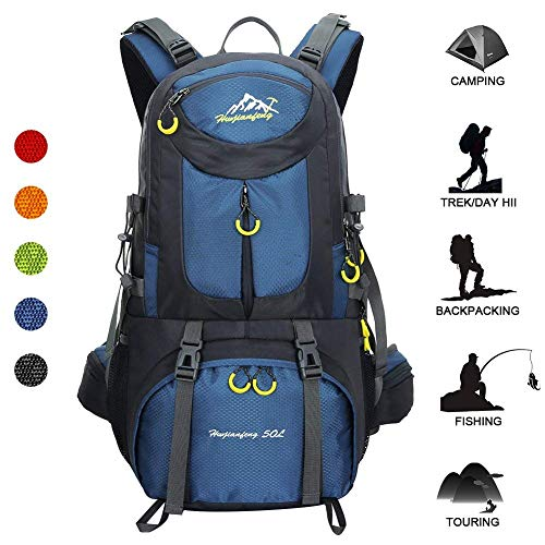 779ca6b333c Huwaijianfeng Hiking Backpack, 50L Waterproof Backpack Outdoor Sport Daypack  with a Rain Cover for Climbing