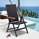 Tangkula Rattan Folding Chair Adjustable Indoor Outdoor Camping Garden Pool Wicker Reclining Chair
