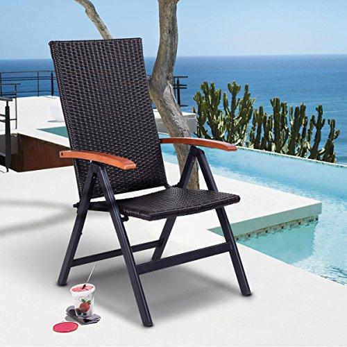 Tangkula Rattan Folding Chair Adjustable Indoor Outdoor Camping Garden Pool Wicker Reclining Chair