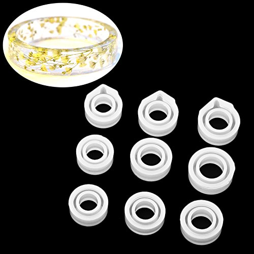 Yalulu 9Pcs Assorted Sizes DIY Ring Silicone Mold Jewelry Pendant Rings Resin Casting Circle Casting Mould for DIY Craft Making, Diameter 16mm-20mm