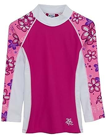 Tuga Girls Shoreline L/S Rash Guard (UPF 50+), Blossom Pink, 2/3 yrs