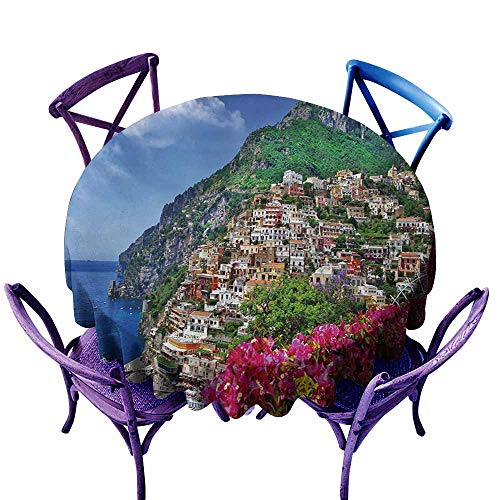 Washable Round Tablecloth,Italy Scenic View of Positano Amalfi Naples Blooming Flowers Coastal Village Image,Party Decorations Table Cover Cloth,63 INCH,Pink Green Blue