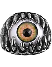Halloween Men Punk Biker Eyeball Claws Finger Ring Statement Party Jewelry Gift