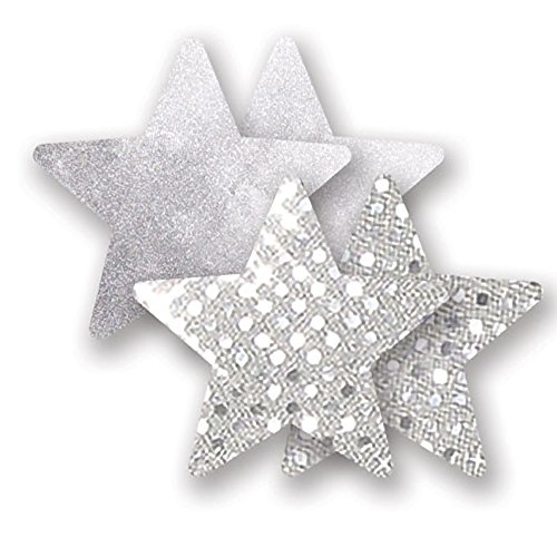 Nippies Silver Sequin Metallic Star Waterproof Self Adhesive Nipple Cover Pasties Size C