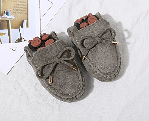 QZUnique Women Warm Moccasin Slippers Flat Loafers Shoes With Bowknot Decoration For Winter Army Green ixXNFc8