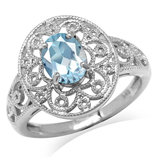 - 1.43ct. Genuine Blue Topaz White Gold Plated 925 Sterling Silver Victorian Style Filigree Ring Size 9