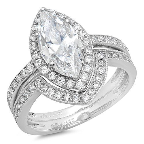 Clara Pucci 2.36 Ct Marquise Cut Pave Halo Engagement Wedding Bridal Anniversary Ring Band Set 14K White Gold, Size 7