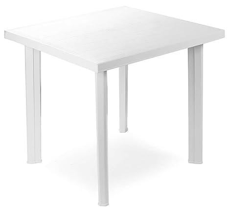 Tavolo Plastica Da Esterno.Tavolo Tavolino Quadrato In Resina Di Plastica Bianco Fiocco Per