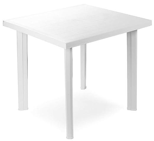 Tavolo Giardino Plastica Prezzo.Tavolo Tavolino Quadrato In Resina Di Plastica Bianco Fiocco Per