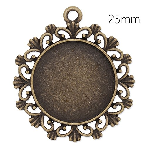20pcs/lot Antique Bronze Plated Lace Edge Pendant Trays with 25mm Round Blank Bezel