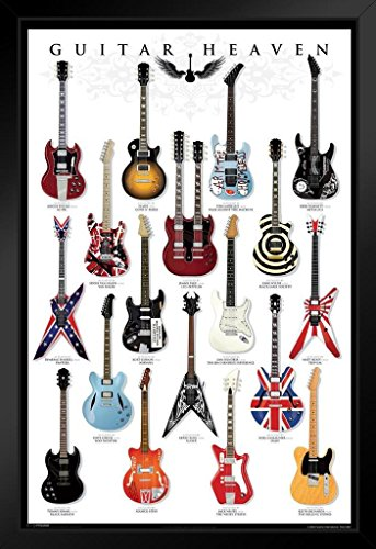 Pyramid America Guitar Heaven Famous Classic Electric Collection Rock Star Music Framed Poster 14x20 inch
