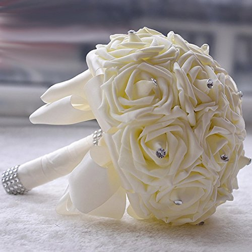Winhappyhome Handmade 16 Milk-white Roses Bride Holding Flower Wedding Bouquet with Rhinestone Ribbon (Milk White)