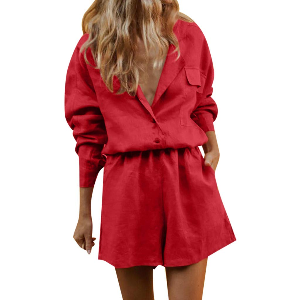 Women 2 Piece Outfits for Work Cotton Linen V Neck Long Sleeve Lapel Button Blouse and Shorts Set Formal Bodycon Two Piece Set