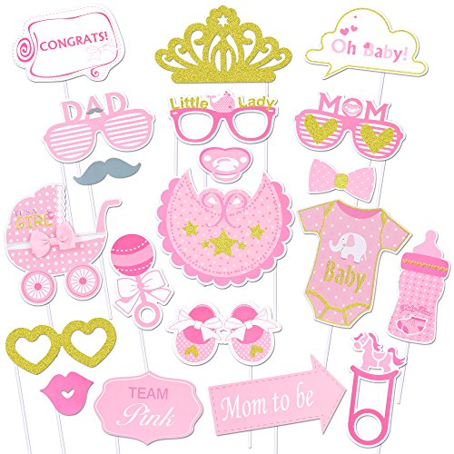 Konsait Baby Shower Photo Props(20Pcs), Glitter Its a Girl Baby Girl Photo Booth Props Kit for Baby Shower Birthday Girl Pink and Gold Gender Reveal Party Favors Supplies Newborn Girl Game Gift (Making Card Occasions Kit)