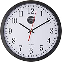 """Office + Style 13"""" Silent Quartz Wall Clock with Anti-Scratch Cover- Black"""