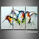 """ARTLAND Modern 100% Hand Painted ( Unframed ) Wall Art """"Colorful Birds"""" 3-Piece Animal Oil Painting on Canvas for Living Room Artwork for Wall Decor Home Decoration 28x42 inches"""