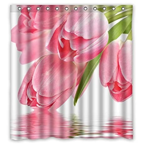Red Tulip Shower Curtain Polyester Waterproof 12 Hooks Included 69quotx