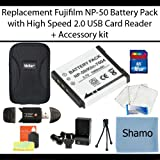 Replacement Fujifilm BP-NP50 Lithium-Ion Camera Battery + High Speed 2.0 Memory Card Reader +16GB High Speed SD Memory Card + AC/DC Charger + Deluxe Hard Shell Carrying Case + Ultra-Compact Mini Tripod + Screen Protectors + Bonus Accessory Kit