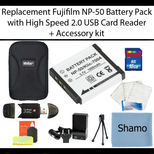 Replacement Fujifilm BP-NP50 Lithium-Ion Camera Battery + High Speed 2.0 Memory Card Reader +16GB High Speed SD Memory Card + AC/DC Charger + Deluxe Hard Shell Carrying Case + Ultra-Compact Mini Tripod + Screen Protectors + Bonus Accessory Kit by Shamo International