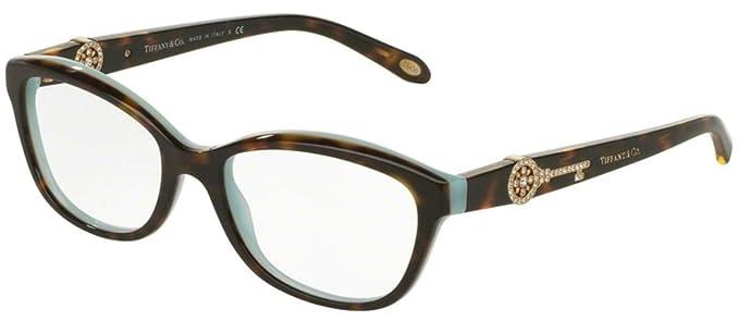 ad5699f0667 Tiffany Optical 0TF2127B Full Rim Pillow Woman Sunglasses - Size 55  (Havana Blue   Clear Lens)  Amazon.co.uk  Clothing
