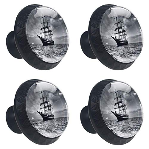 LORVIES Black and White Sailboat Drawer Knob Pull Handle Crystal Glass Circle Shape Cabinet Drawer Pulls Cupboard Knobs with Screws for Home Office Cabinet Cupboard (4 Pieces) ()