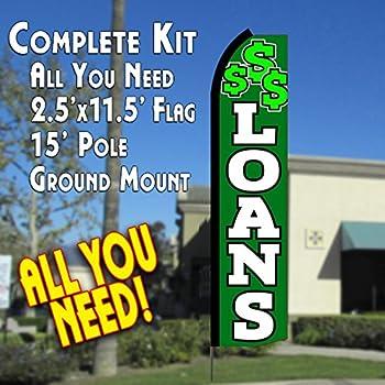 LOANS (Green/White) Flutter Feather Banner Flag Kit (Flag, Pole, & Ground Mt)