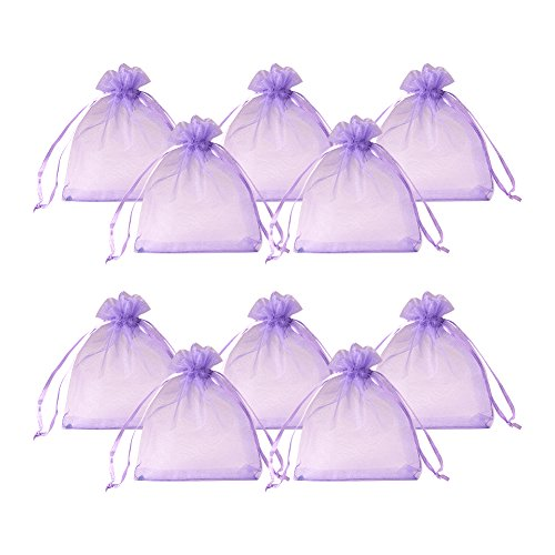 PandaHall Elite About 200 Pcs Purple Drawstring Organza Gift Bags Wedding Party Candy Favor Bags Jewelry Pouches Wrap 3x4 Inches