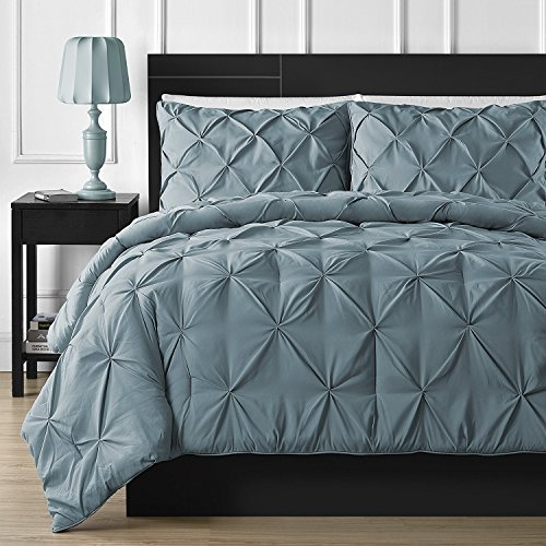 Comfy Bedding Double Needle Durable Stitching 3-Piece Pinch Pleat Comforter Set All Season Pintuck Style, Full, Spa Blue (Tuck Pin Bedding)