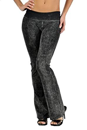 a3f31ee968892 Amazon.com: T Party Women's Basic Solid Color Mineral Wash Yoga Pants:  Clothing