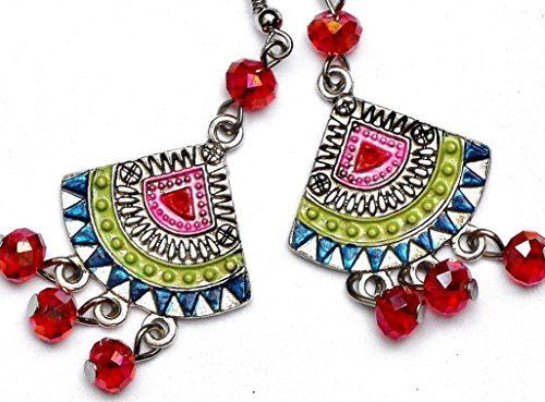 [Colorful Hand Painted Silver Boho Dangle Lightweight Chandelier Earrings] (Tribal Costumes Of India)