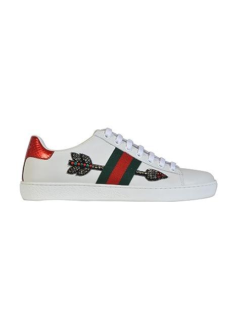 Gucci Mujer 454551A38G09064 Blanco Cuero Zapatillas: Amazon.es: Zapatos y complementos